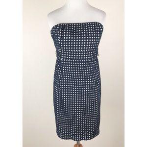Vineyard Vines Navy Gingham Strapless Dress